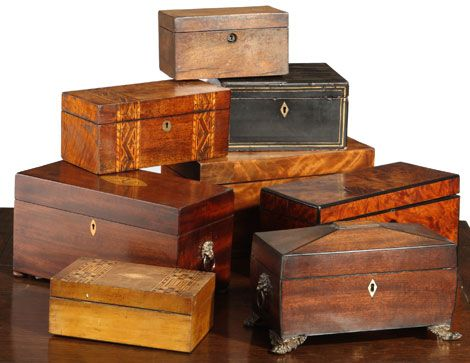 Antique Boxes and Tea Caddies from Betsy Henderson Antiques - I absolutely love antique boxes, tea caddies, writing slopes etc etc #farriersantiques