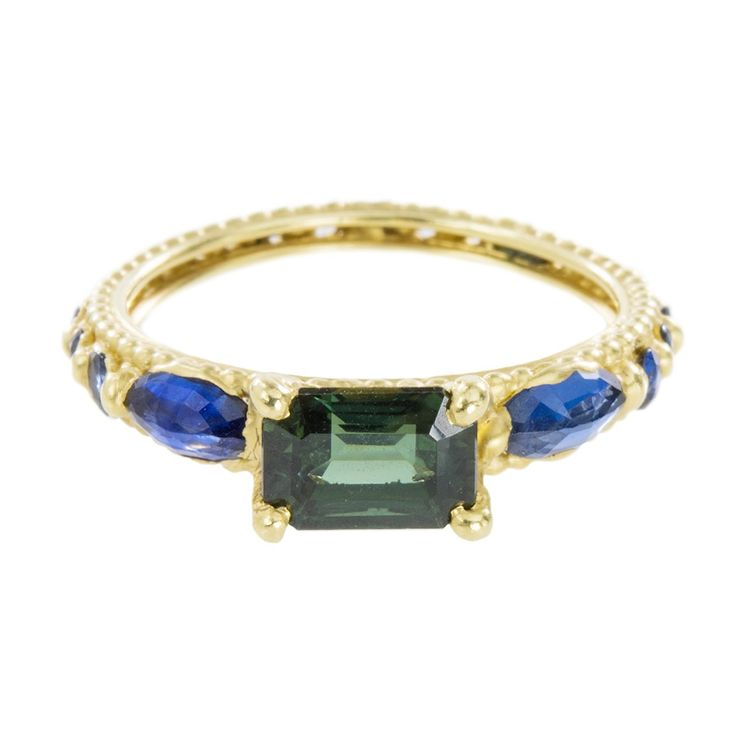 Polly Wales: Green & Blue Sapphire Rapunzel Ring