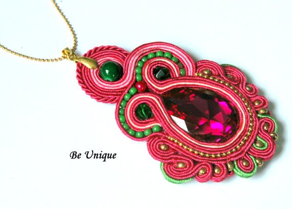 Soutache Pendant with Swarovski Crystal Pink by BeUniqueGallery