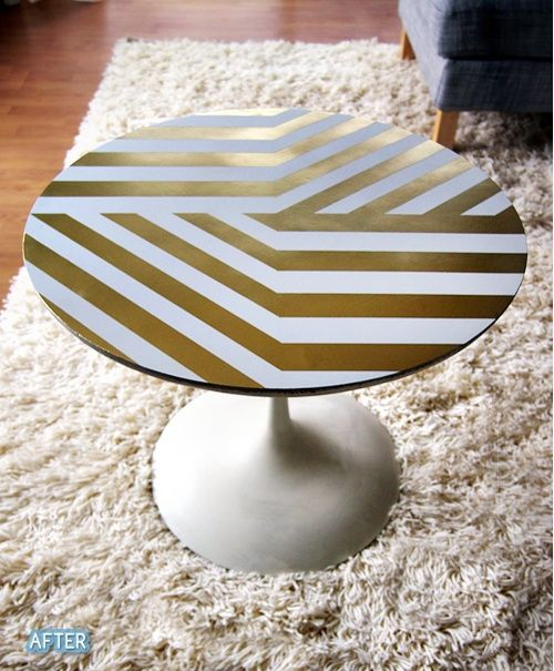 35 best metallic table diy images on pinterest furniture for Spray paint designs with tape