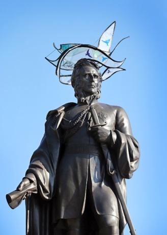 General Sir Charles James Napier models a hat by Sophie Beale, in Trafalgar Square