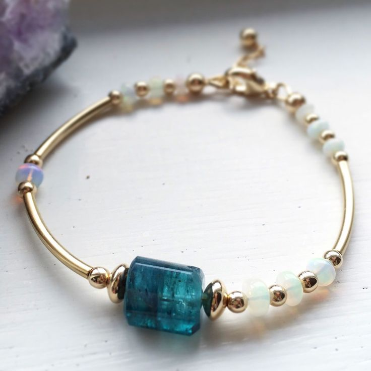 Indicolite tourmaline and ethiopian opal bracelet, tourmaline bracelet, indicolite tourmaline, October birthstone, birthstone bracelet, by RogueCandies on Etsy https://www.etsy.com/listing/248692899/indicolite-tourmaline-and-ethiopian-opal