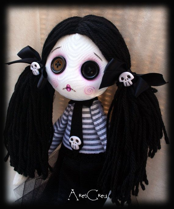 Velenia handmade creepy cute zombie goth cloth doll with big black button eyes and skulls. Goth rag doll. $55.00 By AresCrea