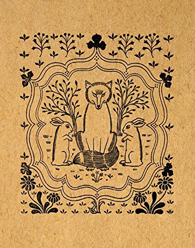 Cute Fox and Rabbits Print Vintage Animal Wall Art Illustration Adorable Poster or Print Vintage Light Brown Paper Style - Living Room Bedroom Nursery Office Home Decor (16 x 20 Inches) - $44.9900