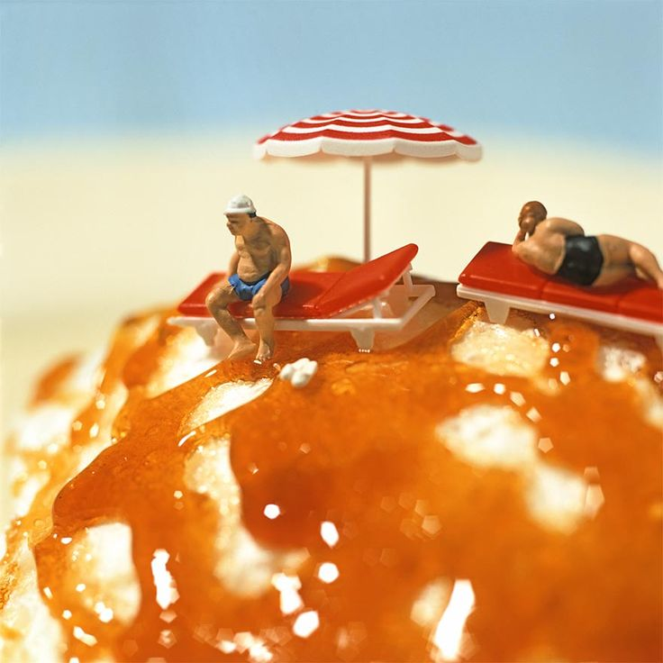 "By Akiko Ida and Pierre Javelle. Since 2002, these two professional food photographers have been shooting a playful series of dioramas called MINIMIAM (""miam"" is French for ""yum"") that place miniature people in a world of over-sized food.    In their dioramas, Javelle and Ida arrange miniature model train figurines in everyday positions and situations that connect playfully with the fruits, vegetables, pastries and other foods that they use in the photographs."