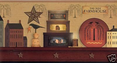 PRIMITIVE COUNTRY SHELF WALLPAPER BORDER  BY YORK