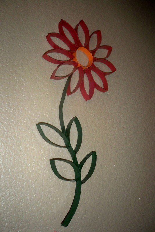 Toilet Paper Roll Wall Art- I would love to make a bunch of these and paint a pot/vase underneath on the wall.