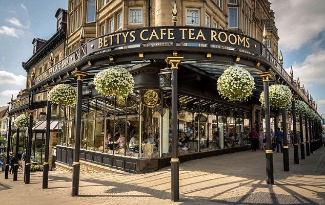 Bettys Cafe Tea Rooms in Harrogate. It is a spa town in North Yorkshire, England. The town is a tourist destination and its visitor attractions include its spa waters.