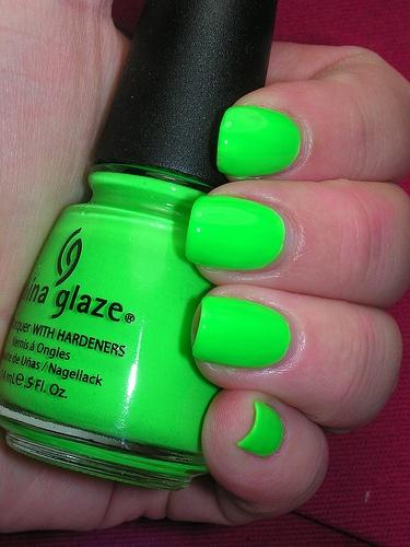 "China Glaze ""Kiwi Cool-ada. Neon = rave wear. Don't judge me."