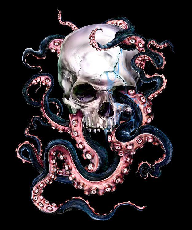 Skulltopus by Eric Pineda, more art inspirations and skull designs at skullspiration.com