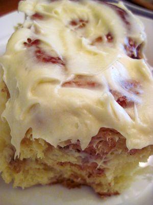 warm, gooey cinnamon rolls with cream cheese icing,