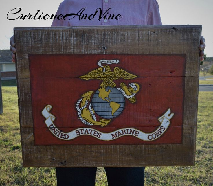 United States Marine Corps Flag-USMC-Pallet Board-Pallet Wall Art-Rustic Barnwood Decor-Man Cave-Flags-Shabby-Reclaimed Wood-Hand Painted by CurlicueAndVine on Etsy