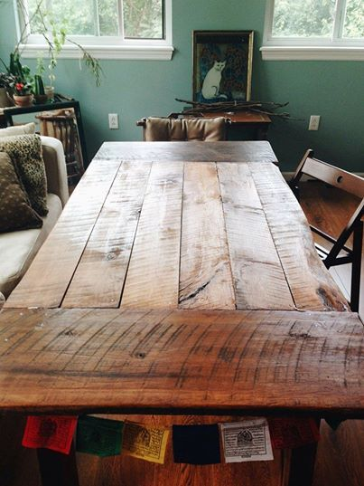 Such a cool room!  Great unexpected use of this beautiful #reclaimedbarnwood #farmhousetable.  The Wooden Whale Workshop- only $200
