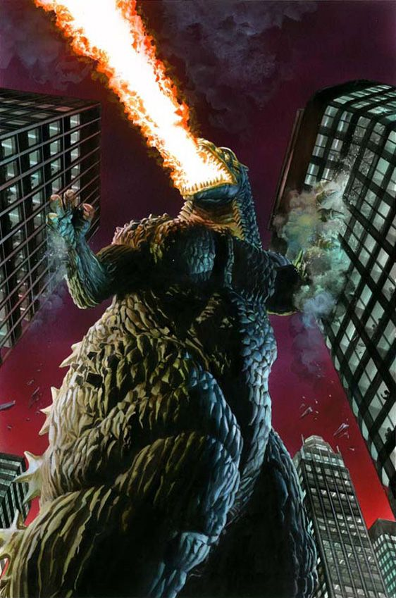 Godzilla - Depiction by Alex Ross. You love him and you are glad when he kicks the butt of a more evil monster. But you quickly want to get the Hell out of his way when he's done as he has no concern for the damage he causes on the way out.