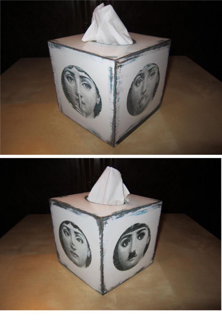 pudełko na chusteczki, farby i lakier akryl, transfer na zmywacz do paznokci