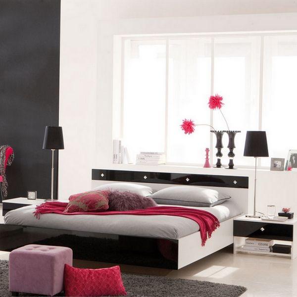 Lit adulte strass 160 x 200 cm blanc noir laqu for Mobilier de chambre blanc