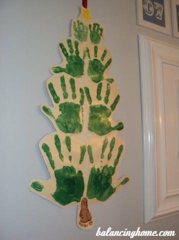 Family Hand Print Christmas Tree