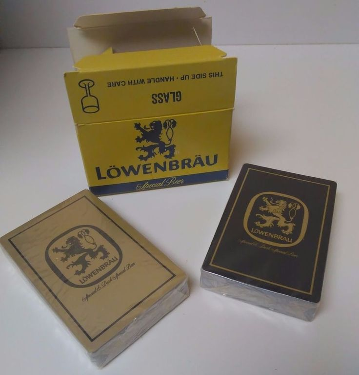 Vintage 1970's Lowenbrau Beer Case Two Deck Playing Cards Set NEW shrink wrap.