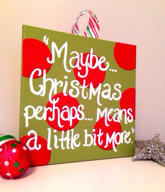 Dr. Suess Wall Art, Christmas Wall Art, Meaning of Christmas, Christmas Painting, Dr. Seuss Painting, Grinch Decor, 12x12 on Etsy, $28.00