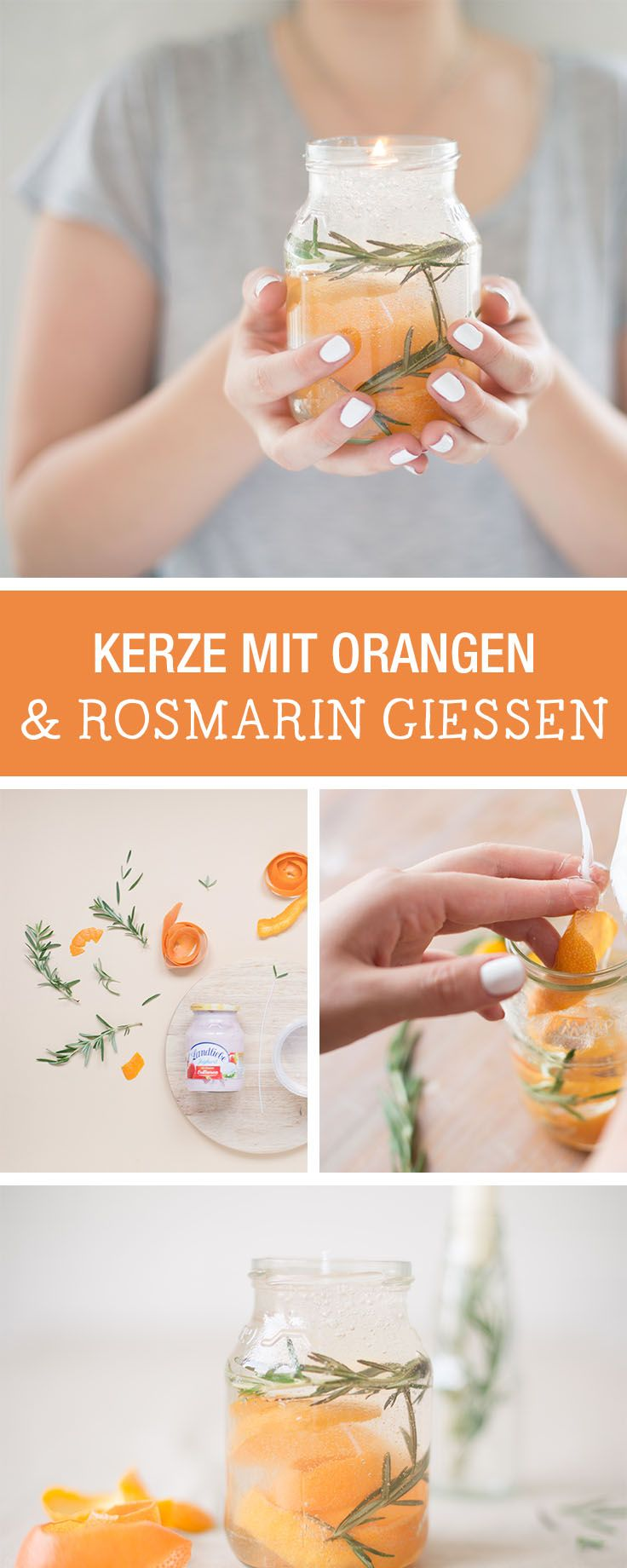 DIY-Idee für Zuhause: Kerze mit Orange und Rosmarin gießen / easy diy inspiration: candle made with orange and rosemary via DaWanda.com