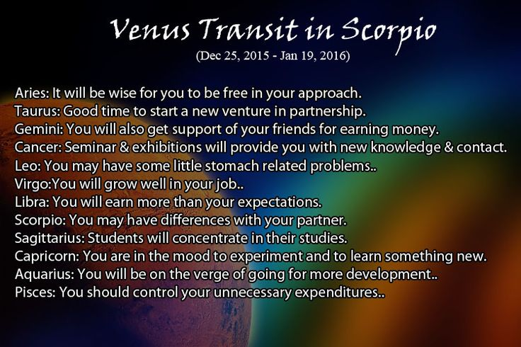 Venus Transit in Scorpio (December 25, 2015 - January 19, 2016)  http://www.askganesha.com