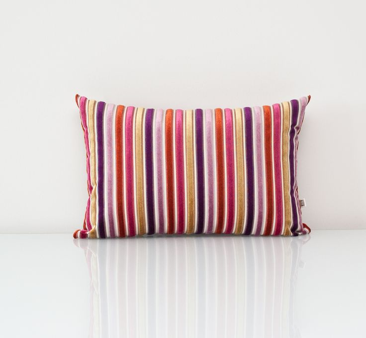 Purple Pillow available at threadsandmore.ca The multi-coloured velvety texture stripes make this an exquisite accent that will elevate any muted décor. FREE customization available