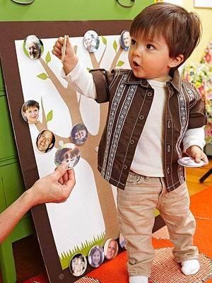 Поиграйте со своим ребенком в генеалогическое дерево. Фотографии крепятся на липучки к нарисованному дереву. Малыш сможет менять их месторасположения, как ему понравится.