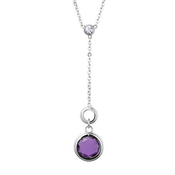 "Stainless Steel, Cubic Zirconia and Amethyst ""Y"" Necklace."