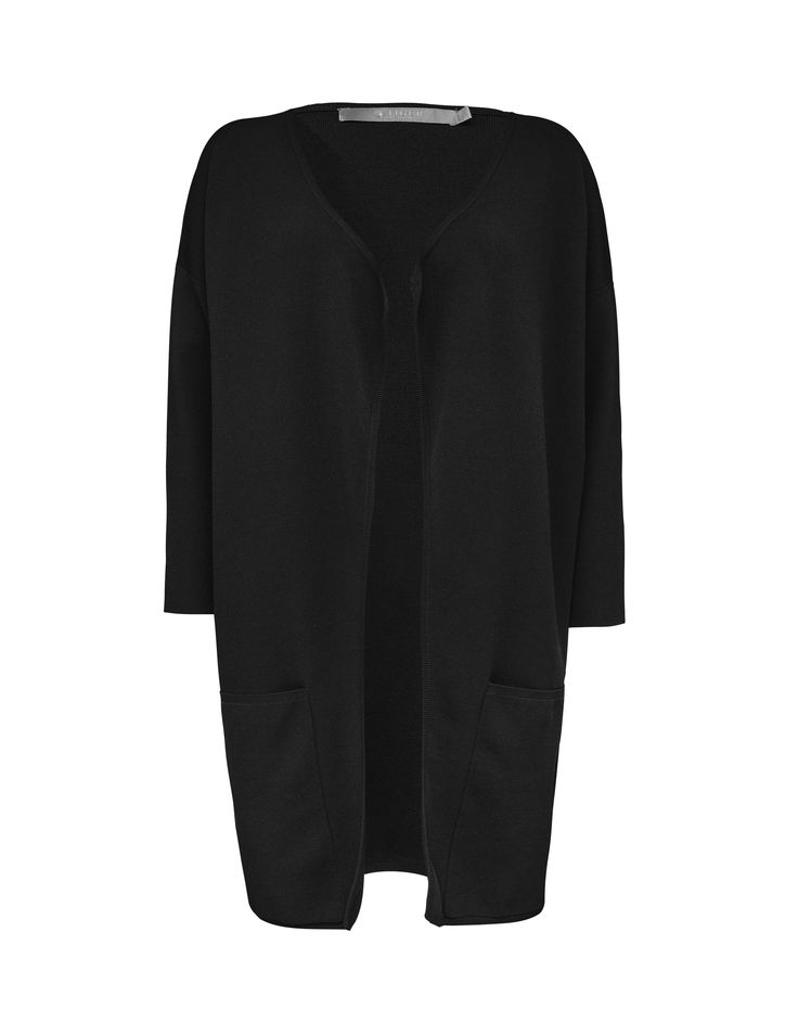 Tiger Of Sweden: Wynni cardigan - Women's black fitted cardigan in viscose-blend. Features open front with dropped shoulders and three-quarter length sleeves. Deep pockets at front. Longer front hem. Below hip length.