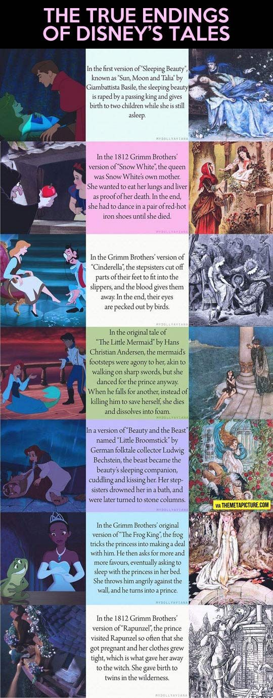 When Disney endings meet the real fairy tale endings... Well, this is depressing. No wonder Disney came up with better stories and endings!