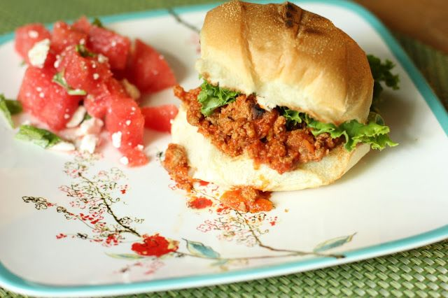 Perfect Recipe for the Summer: Deliciously Healthy Cilantro Turkey Sloppy Joes with Watermelon Feta Salad