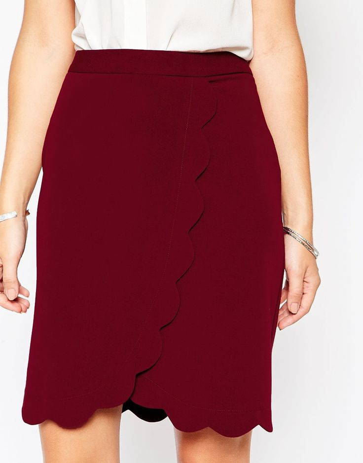 Image 3 ofASOS Wrap Pencil Skirt with Scallop Detail