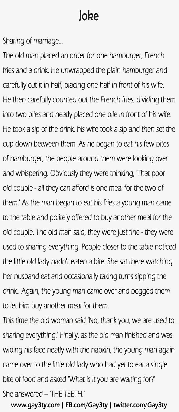 Sharing of marriage – Funny Joke... this would be an excellent starter for vows or wedding speech