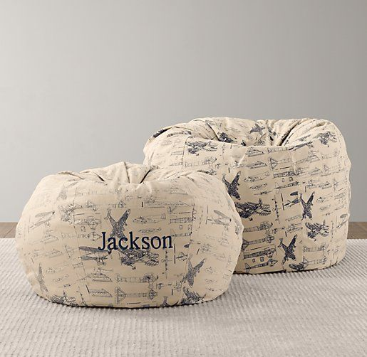 Printed Canvas Bean Bag Cover | Playroom Accessories | Restoration Hardware Baby & Child