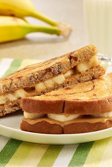 A grilled sandwich recipe using peanut butter and banana on cinnamon swirl bread for a sandwich any time of day.