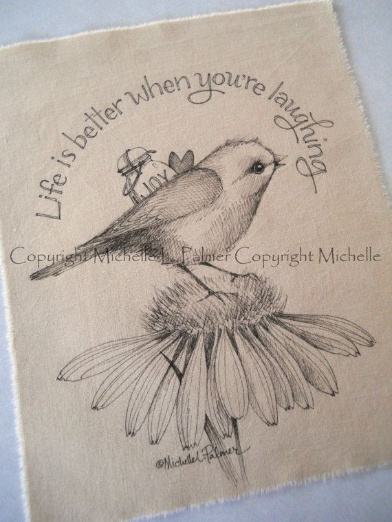Original Pen Ink on Fabric Illustration Quilt Label by Michelle Palmer Songbird Sparrow Bird Daisy Heart