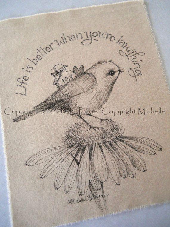 Original Pen Ink on Fabric Illustration Quilt Label by Michelle Palmer Songbird Sparrow Bird Daisy Heart