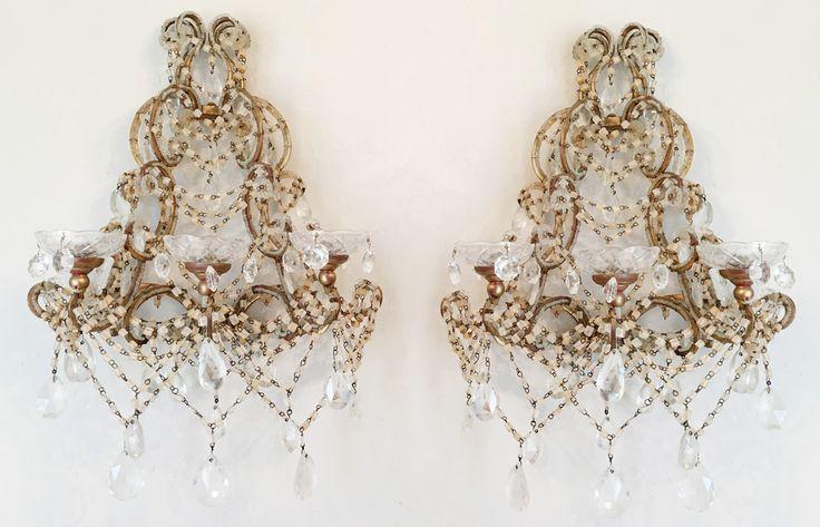 Rare Pair Vintage Three Arm Beaded Crystal Wall Sconces