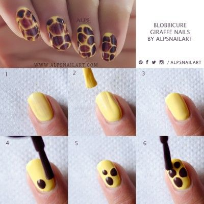 Blobbicure Giraffe Nails Tutorial by @alpsnailart