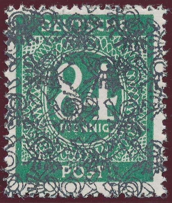 Germany, Bizone, Bizone 1948, Ziffern-Netz-Aufdruck, 84 Pfg. grün, mit doppeltem Aufdruck, einmal normal, einmal senkrecht, postfrisch Pracht, in dieser Form extrem selten, gepr. Schlegel BPP (postfr., Mi.-Nr. 68 II DS, Mi. --,--). Price Estimate (8/2016): 500 EUR.