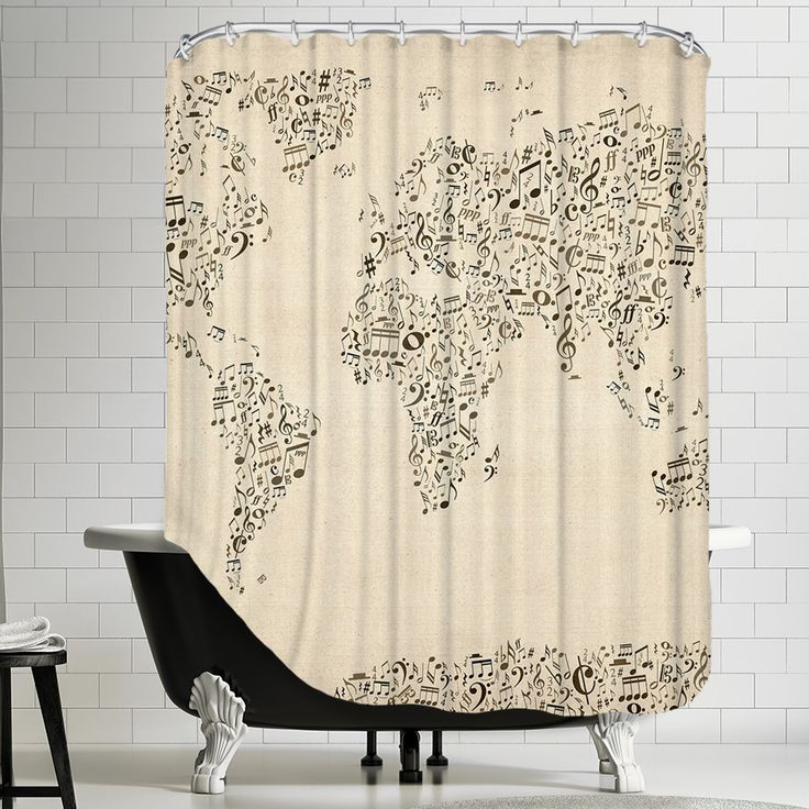 Americanflat Polyester Music Map Shower Curtain