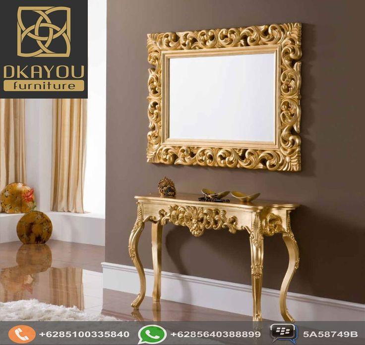 Meja Konsol Mewah Ukir Finishing Gold Terbaru