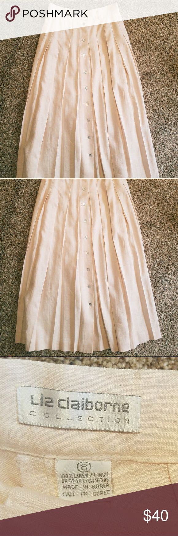 Vintage Linen midi skirt Light pink skirt. 35 inches long and diameter of waste is about 14 inches. Vintage Liz Claiborne Linen midi skirt. Real mother of pearl buttons. This skirt is from the 1980s and well preserved. Very open to offers and possible trades  Check out the link in my bio for how to wear one Vintage Skirts Midi