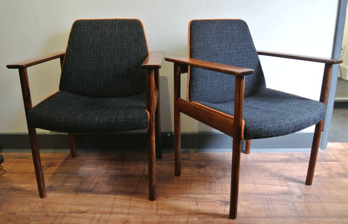 Beautiful Sven Ivar Dysthe 50s rosewood dining chairs - re-upholstered in dark grey tweed fabric with orange wool piping.