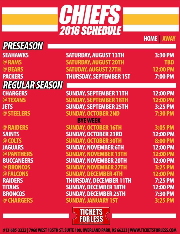 Kansas City Chiefs Schedule 2016