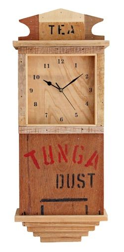 Tea Crate Wall Clock -  Reclaimed Time