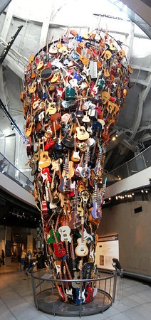 Vertical panorama of a cool guitar display at EMP in Seattle. View the full version: http://photos.kevinworkman.com/Pictures/2011/i-Dp5PrhN/1/O/GuitarsPanorama6.jpg