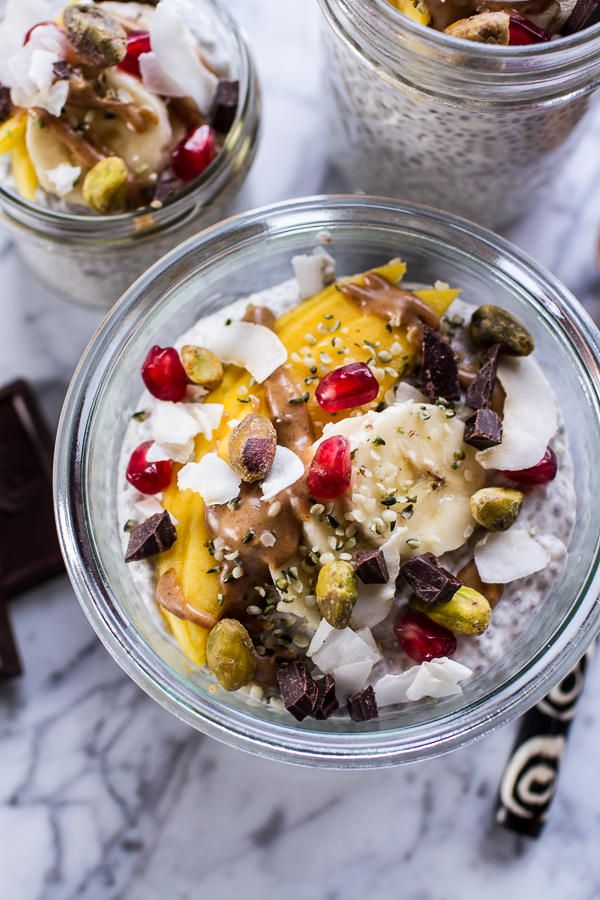 Coconut Almond Cream Chia Pudding with Superfoods + Dark Chocolate | halfbakedharvest.com @hbharvest / Wholesome Foodie <3