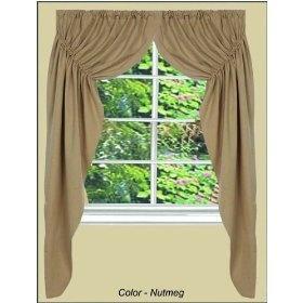 Prairie Curtains - Farmhouse Solid Nutmeg - Primitive Country Rustic Window Treatment $59.99