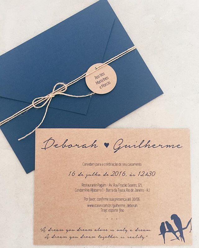 convite de casamento; convite azul marinho; papel kraft;